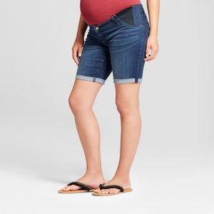 Maternity Inset Panel Bermuda Jean Shorts   #67-24
